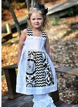 Owls and Bats Girls White and Black Dress (2T,4T,5,6,6X)