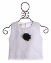 Owls and Bats Girls White Top with Rosette