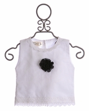 Owls and Bats Girls White Top with Rosette (2T,3T,6X)
