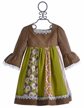 Owls and Bats Little Girls Peasant Dress with Panel Skirt