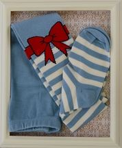 Paper Wings Bow Tights Light Blue and White