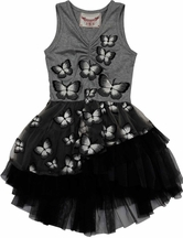 Paper Wings Butterfly Tutu Dress in Gray