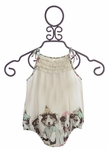Paper Wings Girls Infant Onesie with Puppy Border