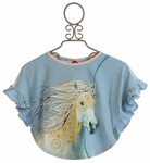 Paper Wings Girls Swing Top with Pony Pattern
