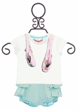 Paper Wings Infant Ballet Tee and Bloomers Set (6Mos,12Mos,18Mos,24Mos)