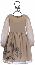 Patachou Horse Dress for Girls in Champagne (Size 8)