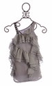 Paulinie Girls Party Dress Silver Chiffon Ruffles