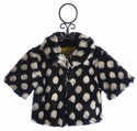 Peace of Cake Black Faux Fur Girls Jacket Ivory Spots