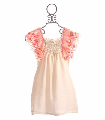 Peace of Cake Tween Cover Up Dress Ivory Striped Flutter Sleeve