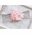 Peach Flower Headband with Faux Fur