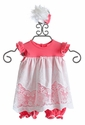 Peaches 'N Cream Baby Dress with Lace in Coral