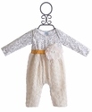 Peaches 'N Cream Baby Girls Romper Ivory Rosettes