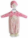 Peaches 'N Cream Baby Gown for Girls in Raspberry and Lace