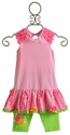 Peaches 'N Cream Girls Pink Stripe Dress with Capri