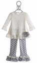 Peaches 'N Cream Ivory Lace Top and Dot Pant for Girls