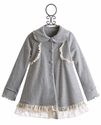 Peaches 'N Cream Little Girls Grey Coat with Lace Ruffles