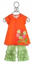 Peaches 'N Cream Orange Capri Set with Flower Applique - 12 Mos, 24 Mos & 4T