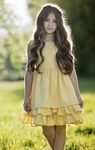Persnickety Adeline Dress for Girls Daffodils and Dandelions