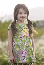 Persnickety Alice Apron Dress for Girls Daffodils and Dandelions