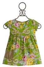 Persnickety Alice Apron Dress for Girls Daffodils and Dandelions (12Mos,18Mos,6)