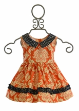 Persnickety Alpine Daisy Baby Doll Dress in Orange