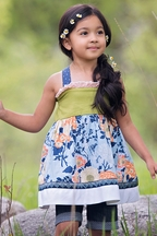 Persnickety Alpine Daisy Betsy Halter Top for Girls