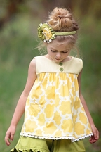 Persnickety Avery Top for Little Girls in Yellow