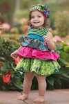 Persnickety Baby Girls Dress in Paisley Forget Me Not