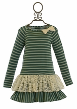 Persnickety Birdie Dress in Teal Stripe