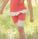 Persnickety Button Tab Shorts in Coral