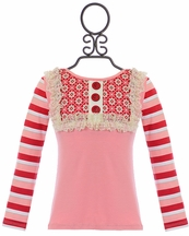 Persnickety Candy Cane Lou Lou Top for Girls (12-18Mos,18-24Mos,2)