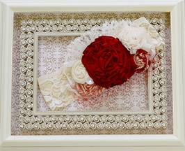 Persnickety Carol Lace Headband in Ivory and Red