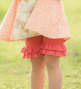 Persnickety Clothing Coral Double Ruffle Shorts for Girls (Size 12 Mos)