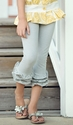 Persnickety Clothing Gray Stripe Triple Ruffle Legging
