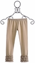 Persnickety Clothing Tan Dot Ruffled Girls Leggings