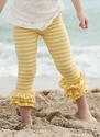 Persnickety Clothing Yellow Striped Triple Ruffled Legging