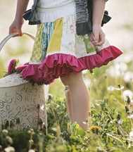 Persnickety Daffodils and Dandelions Paige Skirt for Girls