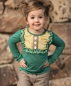 Persnickety Emerald Pine Lou Lou Top for Girls