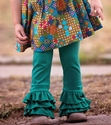 Persnickety Emerald Pine Triple Ruffle Leggings