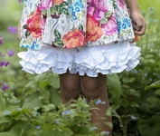 Persnickety Forget Me Not Ruffle Shorts in White