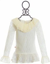 Persnickety Frilly Top for Girls in Lace and Ivory (Size 12)