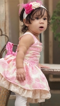 Persnickety Gia Dress for Babies in Pink Daffodils and Dandelions