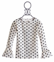 Persnickety Girls Black Dot Top with Ruffle Sleeve (Size 8)