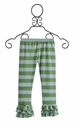 Persnickety Girls Leggings in Green Stripe (Size 12 Mos)