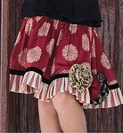Persnickety Girls Rosette Red Skirt (12 Mos,18 Mos, 2, 3)