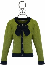 Persnickety Girls Sweater with Bow in Green