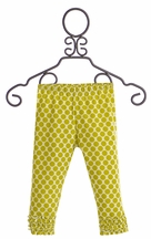 Persnickety Gracie Leggings for Girls with Green Dots