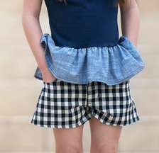 Persnickety Hazel Shorts Navy Check (6 & 7)