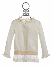 Persnickety Ivory Ivy Button Up Top with Lace
