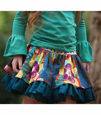 Persnickety Lily Skirt In Emerald Pine